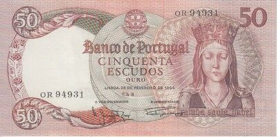 Portugal Banknote P# 168  50 Escudos 1964 Extremely Fine  Center Fold Usa Seller