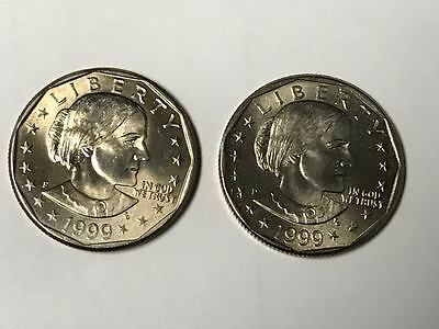 Susan B Anthony Brilliant Uncirculated Dollar set 1999 P and D From Mint Bag