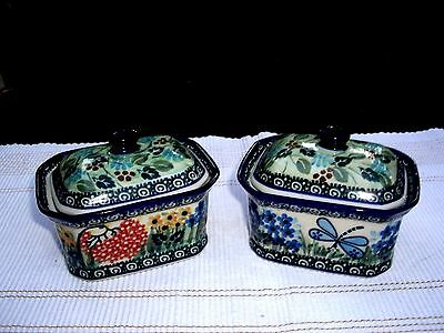 "Polish Stoneware Unikat, Collectible ""Butterfly Garden"" Covered Box  by T Liana"