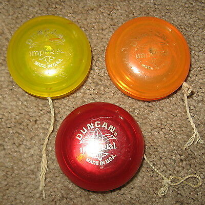 Lot Of 3 Vintage DUNCAN IMPERIAL YO-YO's RED,YELLOW & ORANGE with Strings U.S.A.