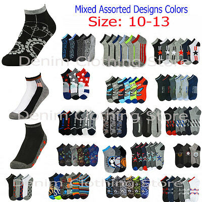 Men's Ankle Sports Socks Mixed Assorted Designs Wholesale Quarter Crew Lot 10-13