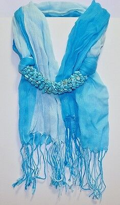 GENUINE! Arizona Turquoise Encrusted Two Tone 100% Cotton Scarf!