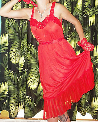 Vintage Red Nightgown M Sheer Ruffles pinup clothing girl retro mid century 1950