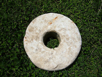 "Antique Granite Millstone Grain Corn Grinding Wheel 9"" x 3 1/2""  20 lbs."