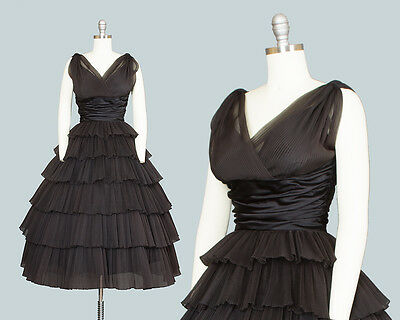 Vintage 1950s Party Dress RAPPÍ Black Organza Fortuny Pleated Tiered Prom Gown