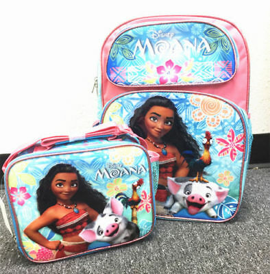 "Moana School Backpack Lunch &Pencil Bag Set 16"" Grils Book Bag Insulated Box 2pc"
