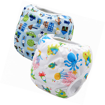Storeofbaby 2pcs Baby Swim Cloth Diapers Reusable Adjustable for 0-36 Months (Pa