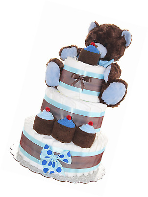 Newborn Diaper Cake 3 Tier- Brown Teddy Bear Classic Diaper Cake/ Baby Boy Gift,