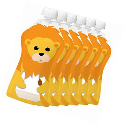 Squooshi Reusable Food Pouch | Large Lion 6 Pack | Refillable Squeeze Pouches fo