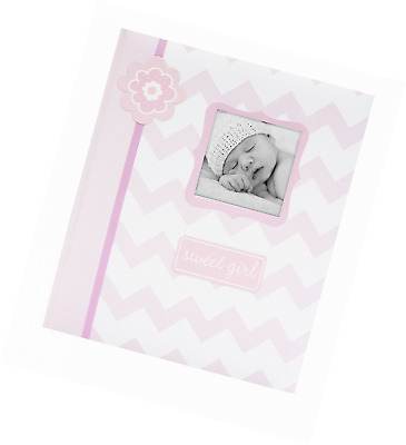 Lil' Peach Chevron Baby Memory Book, Pink