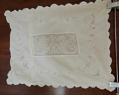Antique White Fine Cotton Baby Pillowcase Filet Lace Net Lace Embroidery