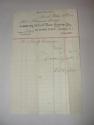 ANTIQUE 1894 Newark Baby Carriage Co. Statement / Invoice