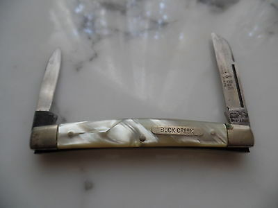 Vintage Buck Creek Bear & Bull Mother of Pearl -2 Blade Slim Pocket Knife