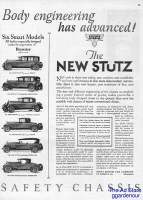1926 Stutz Motor Car Speedster Coupe Victoria Sedan Indianapolis Indiana IN Ad