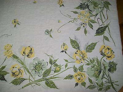 Vintage Tablecloth Flowers Yellow & Green