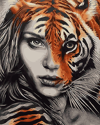 Framed Painting by Number Kit Lady's Face Tiger King Portrait Animal DIY MB7003