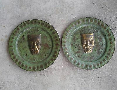 2 large vintage movie theater entrance hammered copper wall plaques drama faces
