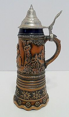 "Musical Stein w/ Attached Lid - Plays Blue Danube - 9"" Tall - Cobalt Blue & Tan"