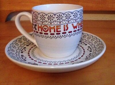 Mary Engelbreit Tea Cup & Saucer Set  Home Is Where the Heart Is ME Ink