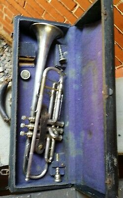 "Very Rare Antique Sterling ? Silver Trumpet/cornet ?  ""royal"" !!!"