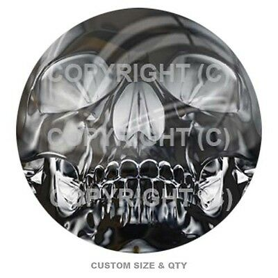 Premium Glossy Round 3D Epoxy Domed Decal Outdoor Grey Alien Skull On Black S173