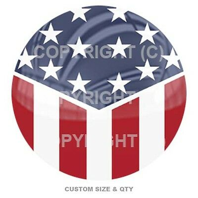 Premium Glossy Round 3D Epoxy Domed Decal Indoor & Outdoor Slant USA Flag C113
