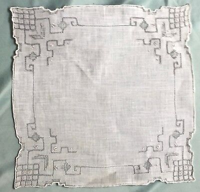 Antique Thread Pulled Lace And Embroidered Fine Linen Handkerchief Detailed Hem