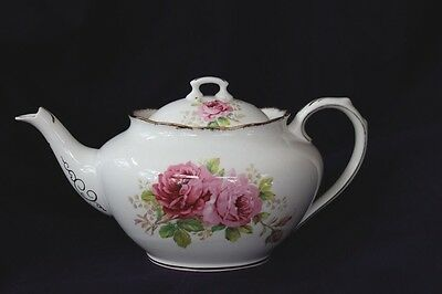 Royal Albert American Beauty China Teapot Rare Black Back Stamp 1940's England