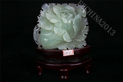 "10.4"" China 100% Natural Xiu Jade Jadeite Hand-carved Cabbage Statue Sculpture"