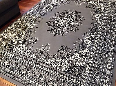 Grey Black Cream Traditional Persian Rug Large Floor Mat Carpet FREE DELIVERY