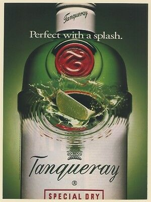 1993 Tanqueray Gin Perfect with a Splash Lime Print Ad