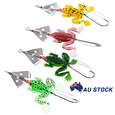4pcs Rubber Frog Soft Fishing Lures Bass Crank Bait Sinking Spinner Spoon Lure