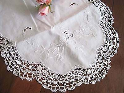 Pretty Wide Hand Bobbin Lace Embroidery Hemstitch White Cotton Table Runner L