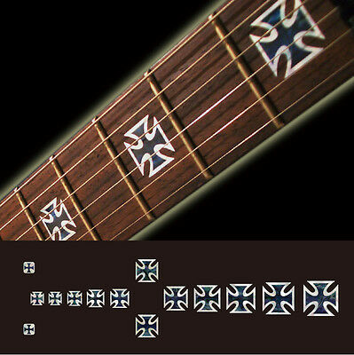 Iron cross black pearl fret marker inlay sticker decal for guitar bass