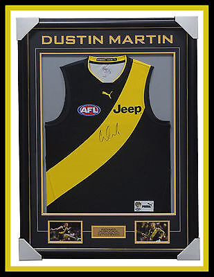 Dustin Martin Signed Richmond Official AFL Jumper Framed with Photos + AFL COA