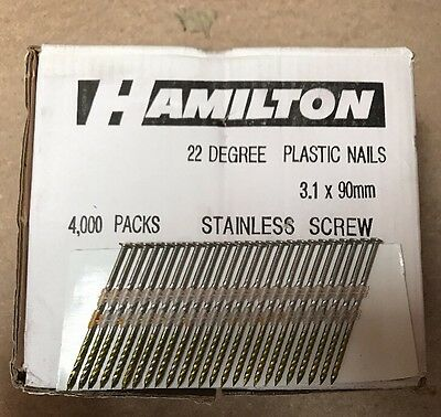 20 21 22 Degree 3.1 x 90mm Stainless Steel Framing Nails 4'000 Qty *