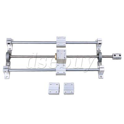 BQLZR Horizontal 350mm T8 Dual Lead Screw Rod Linear Rail Support Guide Set