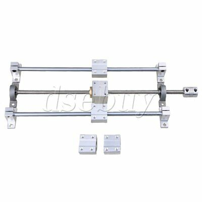 Horizontal 350mm T8 Dual Lead Screw Rod Linear Rail Support Guide Set