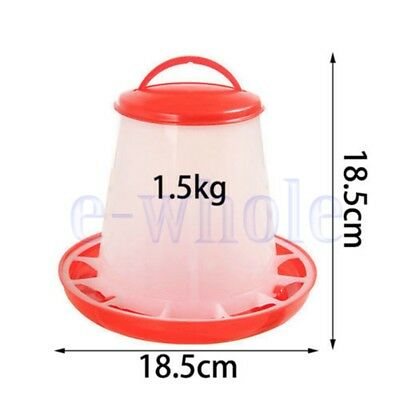 1.5kg Auto Red Plastic Food Feeder Chicken Chick Hen Poultry with Lid&Handle TW