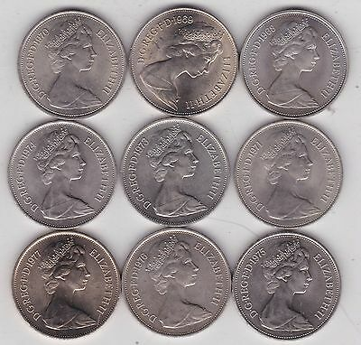 9 Large Old Ten Pence Coins Dated 1968 To 1977 In Near Mint Condition