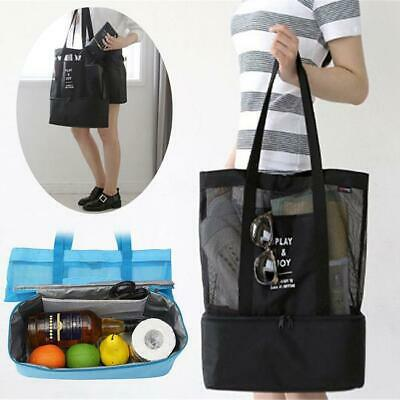Double Layers Mesh Shoulder Bag Insulated Picnic Cooler Beach Food Storage FW