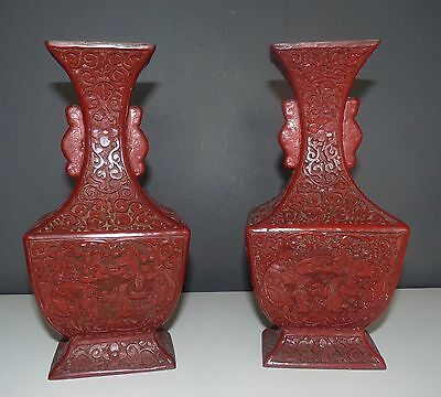 Chinese Pair Cinnabar Laquered Vases - Mid 19th Century