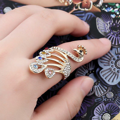 Cute Gold Plated Multi Color Rhinestone Peacock Band Ring Jewelry New Size 6-10