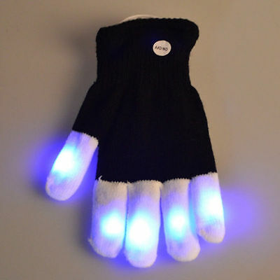 Black LED Rave Flashing Glove Glow 7 Mode Light Up Night Party Finger Lighting