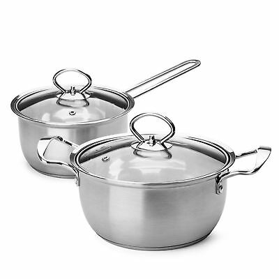 2 Piece Camping Cookware Stainless Steel 2 Qt Stock and Pot 1.5 Qt Saucepan Set