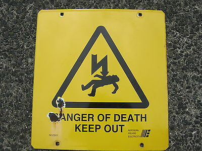 Large Old Northern Ireland Electricity Sub Station Danger Of Death Sign