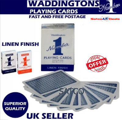 Waddington No1 Classic Playing Cards New Decks of Red & Blue Linen Finish NEW