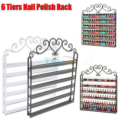 6 Tier Wrought Iron Nail Polish Rack Wall Display Mental Stand Shelf White/Black