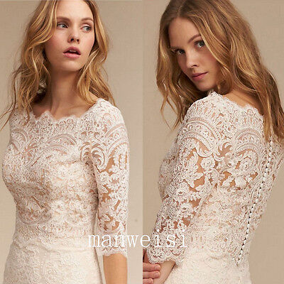 White Ivory Bolero Wedding Bridal Jacket 3/4 Sleeve Lace Applique Elegant Wraps