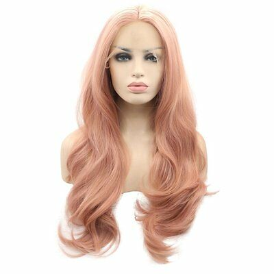26 inch Long Wavy Layered Pink Synthetic Hair Heat Resistant Lace Front Wig